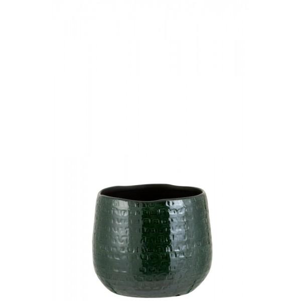 Flowerpot Pattern Cer Grn M (19x22x18.5cm)