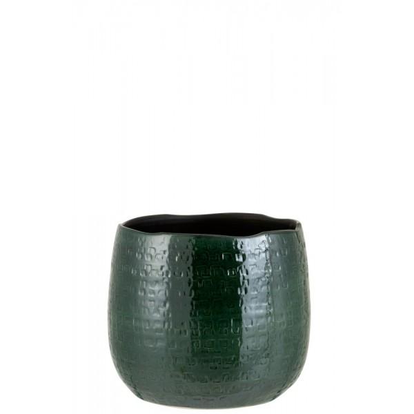 Flowerpot Pattern Cer Grn L (24x26.5x22cm)