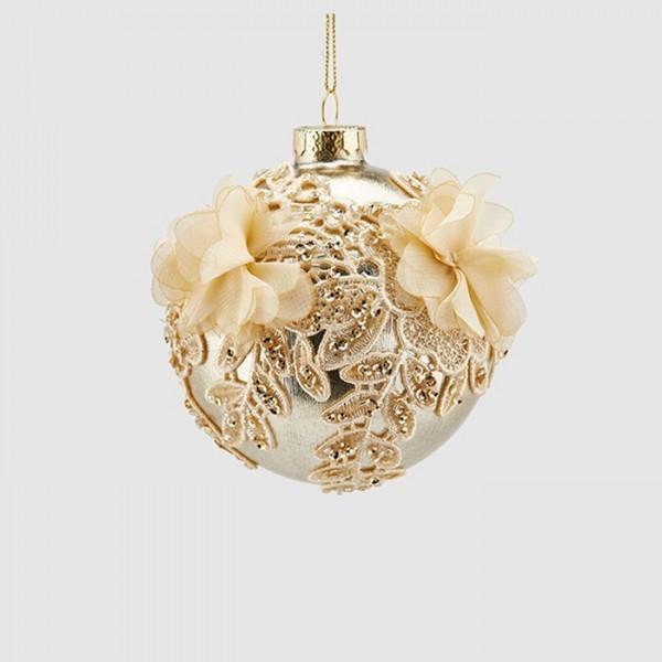 White Flower Ball Ornament
