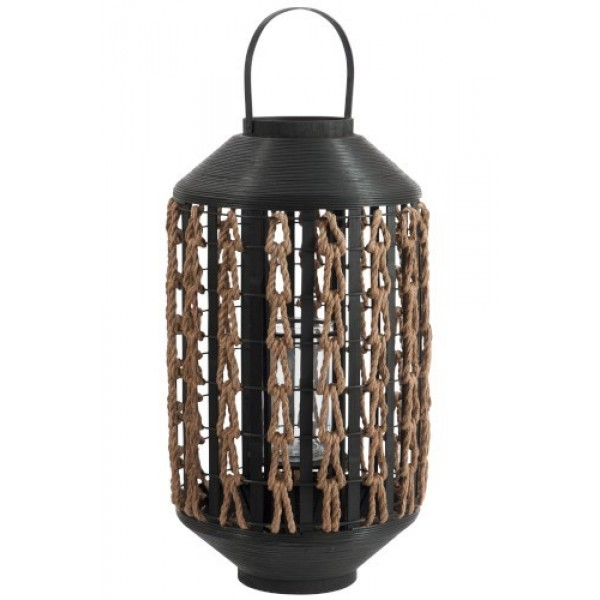 METAL & ROPE LANTERN - BLACK/BEIGE