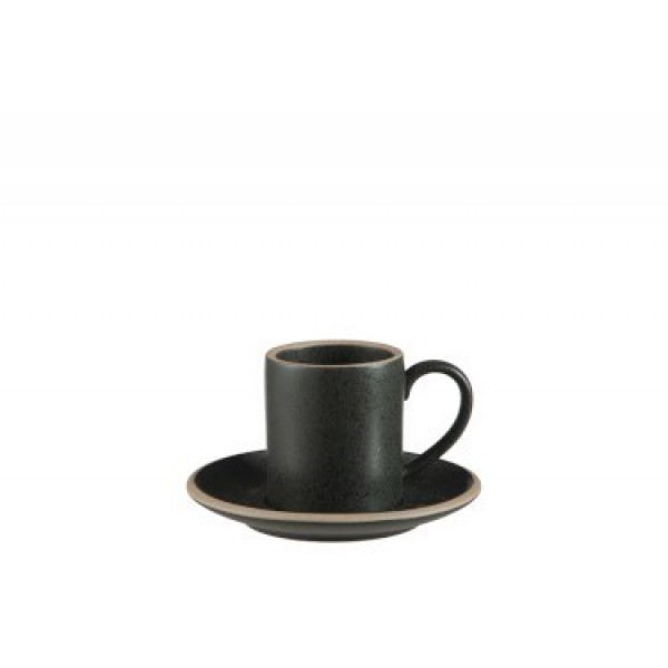 COFFEE CUP - SAUCER MATTE CERAMIC BLACK SMALL