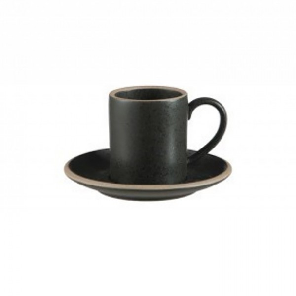 Black Matte Coffee Cup & Saucer - Small