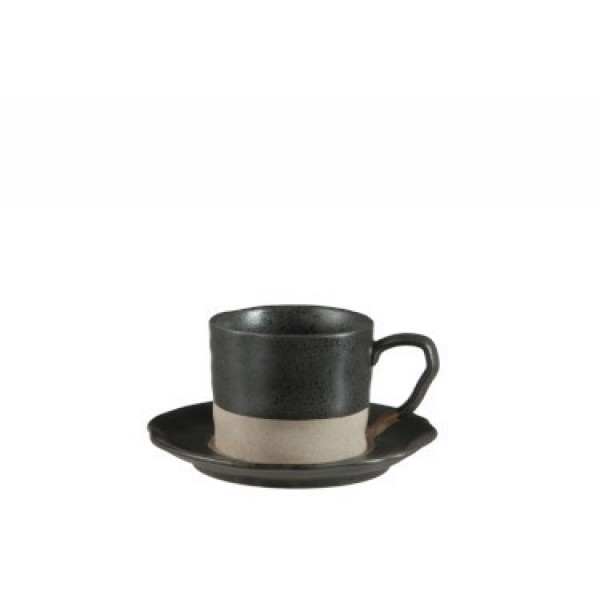 COFFEE CUP - SAUCER MATTE CERAMIC BLACK LARGE