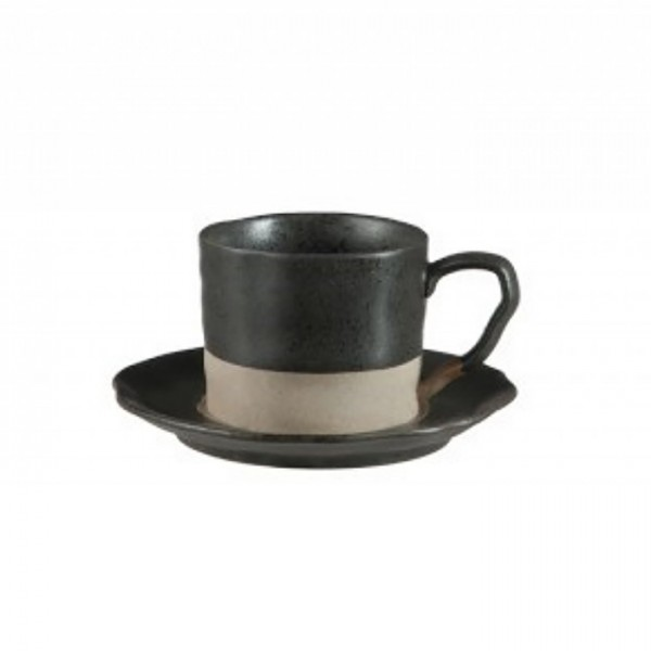 Black Matte Coffee Cup & Saucer - Large