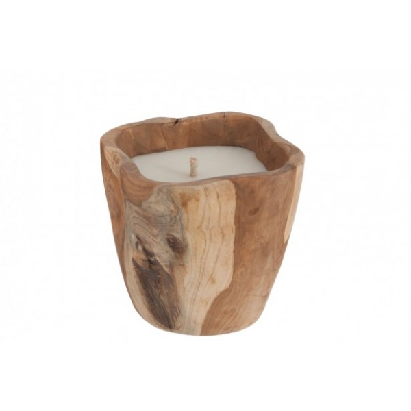 SQUARE CANDLE IN NATURAL WOOD