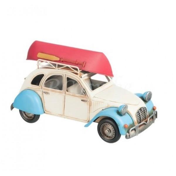 CAR WITH CANOE METAL BEIGE/BLUE