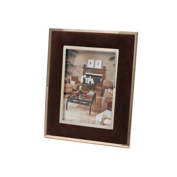 PHOTO FRAME -BROWN SUEDE - SMALL