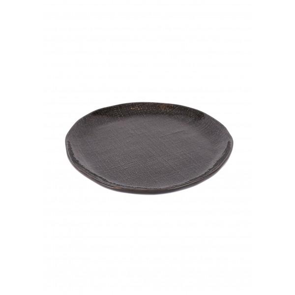 Greystone linen dinner plate - dark