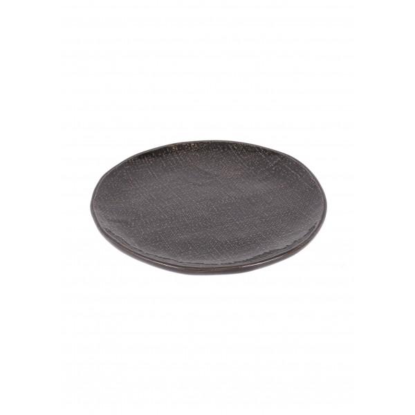 Greystone linen side plate - dark