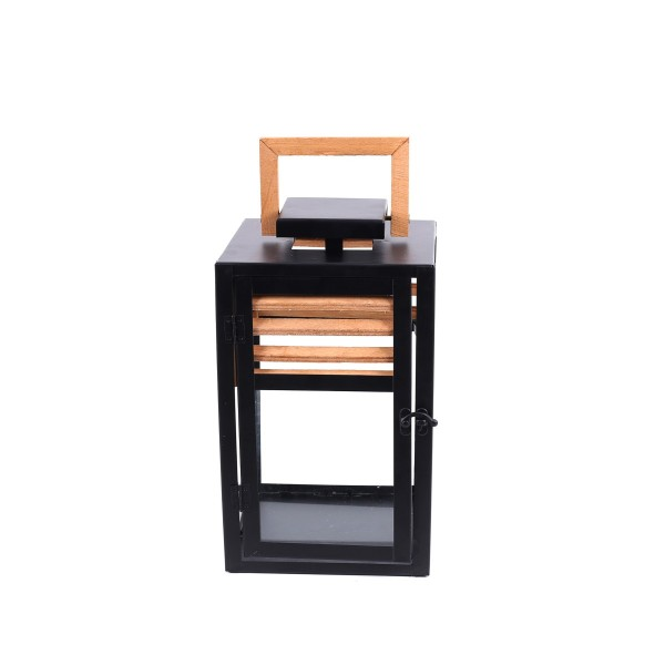 Square Lantern - Metal and Wood - Black/Natural