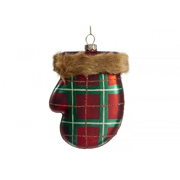 Furry Tartan Mitten Ornament