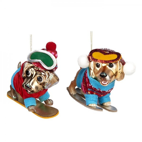 Snowboard Dog Ornament