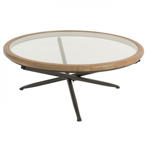 J-line Table Round Wood/Glass Brown L