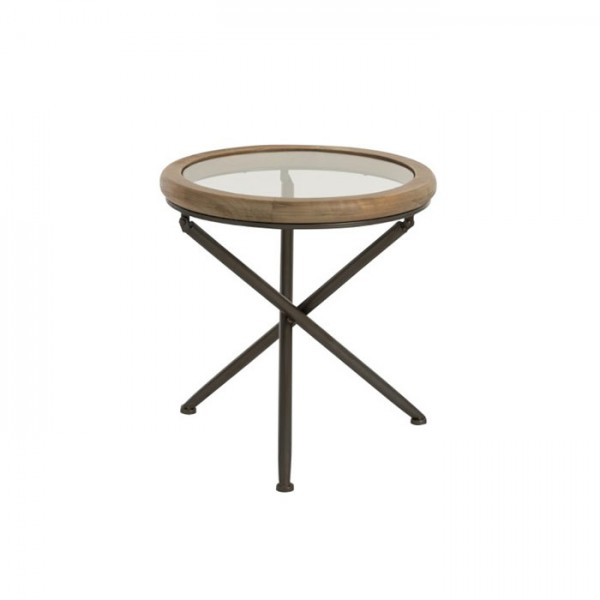 J-line Table Round Wood/Glass Brown S