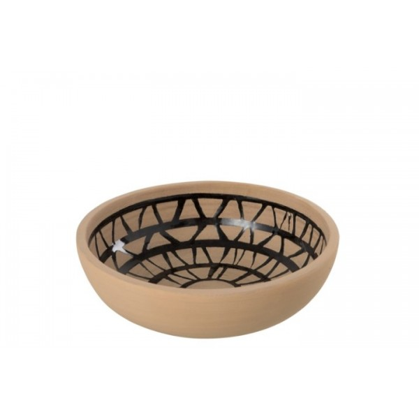 CERAMIC BOWL - ETHNIC - BROWN/BLACK