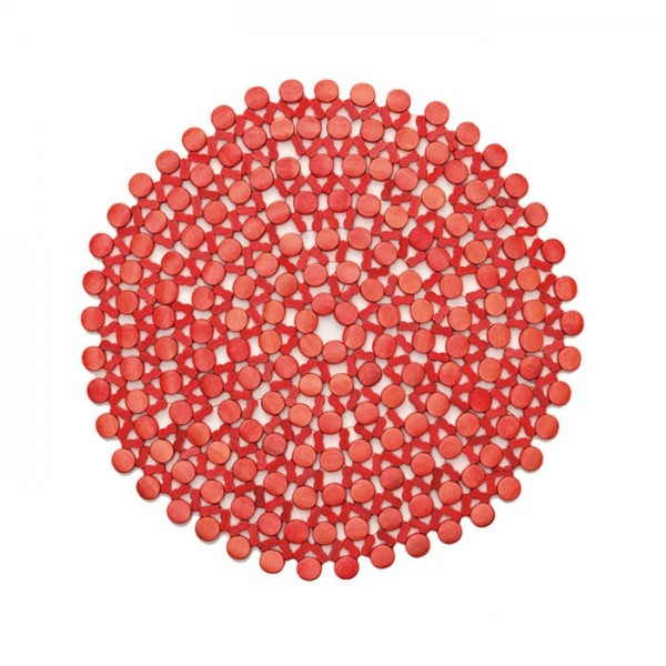 Kim Seybert Round Bamboo Placemat In Coral