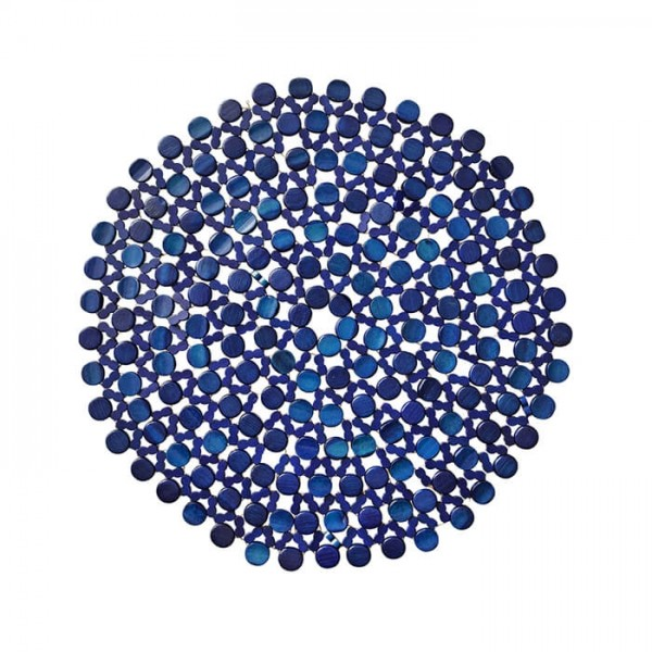 Kim Seybert Round Bamboo Placemat In Navy Blue