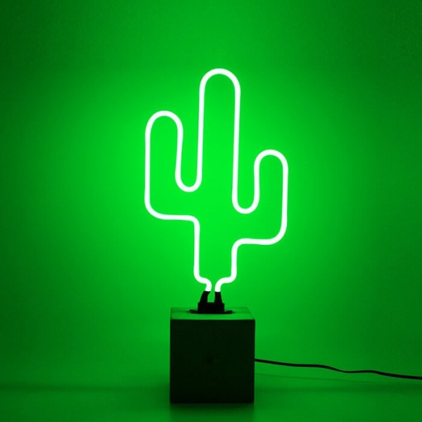 Locomocean Neon Sign Concrete Base Cactus
