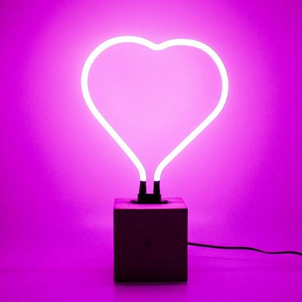 Locomocean Neon Sign Concrete Base Heart