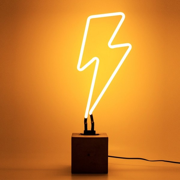 Locomocean Neon Sign Concrete Base Lightning Bolt