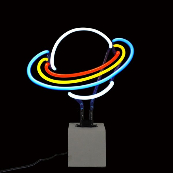 Locomocean Neon Sign Concrete Base Saturn
