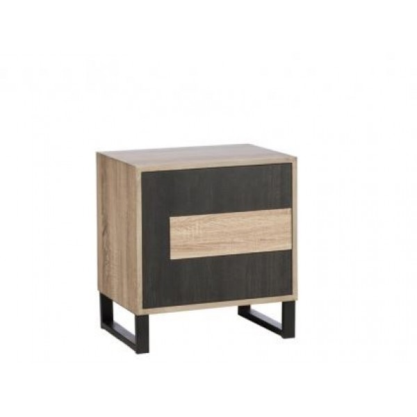 NIGHT STAND TABLE - BEIGE/BLACK