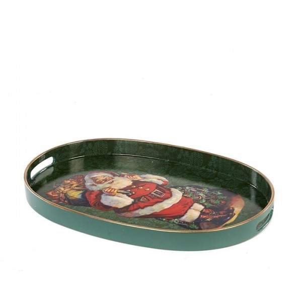 Oval Tray with Santa Toys
