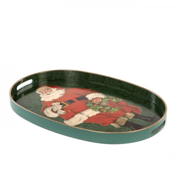 Oval Tray with Santa