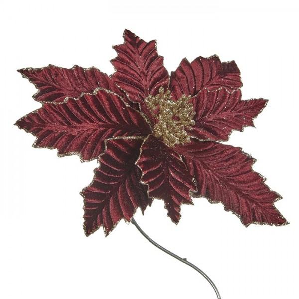 Poinsettia on Clip Burgundy