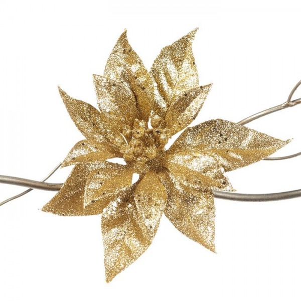Poinsettia on Clip Gold