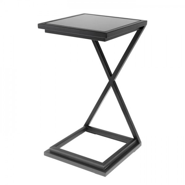 Side Table Cross Gunmetal Black Glass