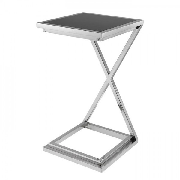 Side Table Cross Nickel Black Glass