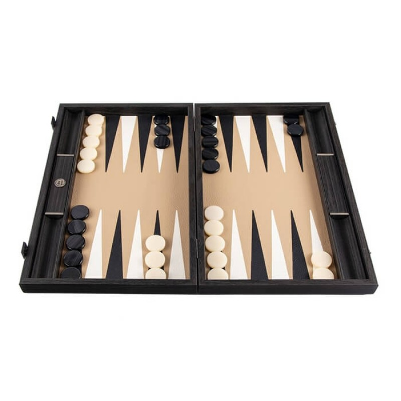 Leatherette Backgammon Mocha Brown 48cm