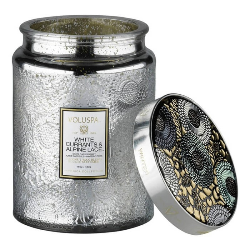 Voluspa Large Embossed Glass Jar Candle White Currants & Alpine Lace 16oz