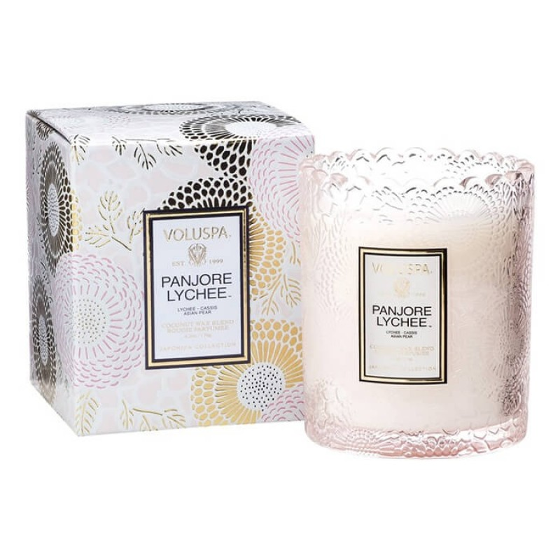 Voluspa Scalloped Edge Glass Candle Panjore Lychee 6.2oz